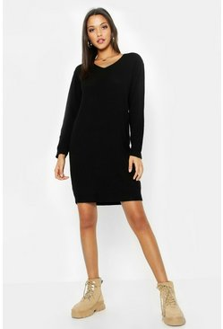 Womens Black Tall V Neck Moss Stitch Jumper Dress
