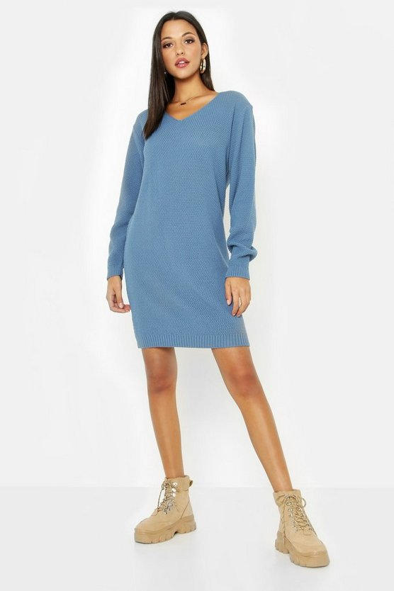 Womens Denim Tall V Neck Moss Stitch Sweater Dress
