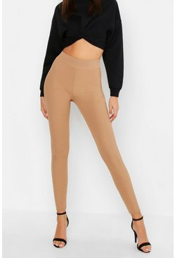 Womens Camel Tall Rib Leggings