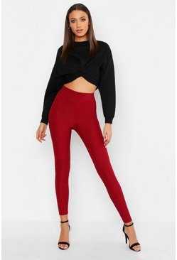 Womens Wine Tall Rib Leggings