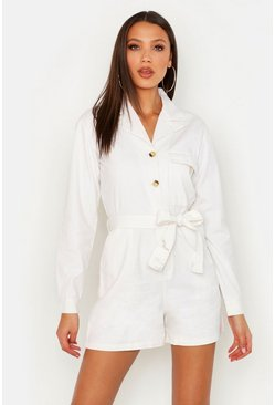 Womens Ecru Tall Utility Belted Playsuit