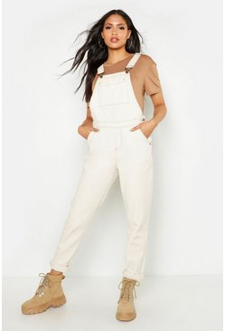 Womens Ecru Tall Pocket Front Dungaree