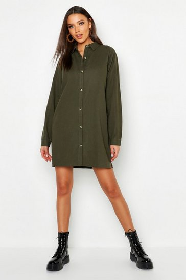 Womens Khaki Tall Utility Shirt Dress