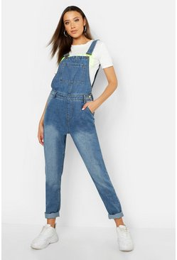 Womens Mid blue Tall Pocket Front Overall