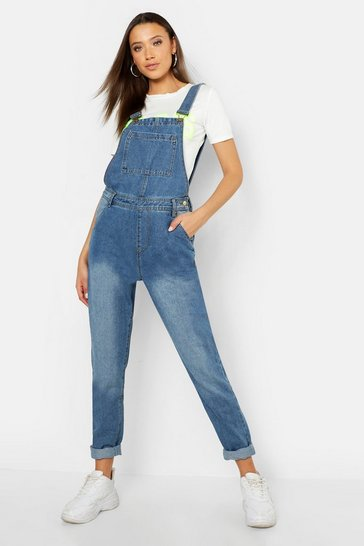Womens Mid blue Tall Pocket Front Dungaree