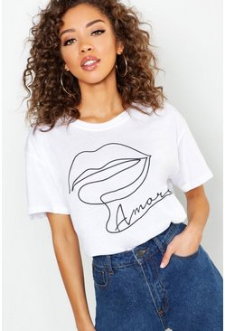 Womens White Tall Amore Lips Slogan T-Shirt