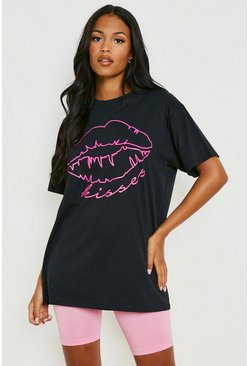 Black Tall Neon Lips Slogan T-Shirt