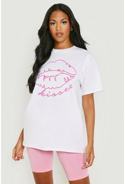 White Tall Neon Lips Slogan T-Shirt
