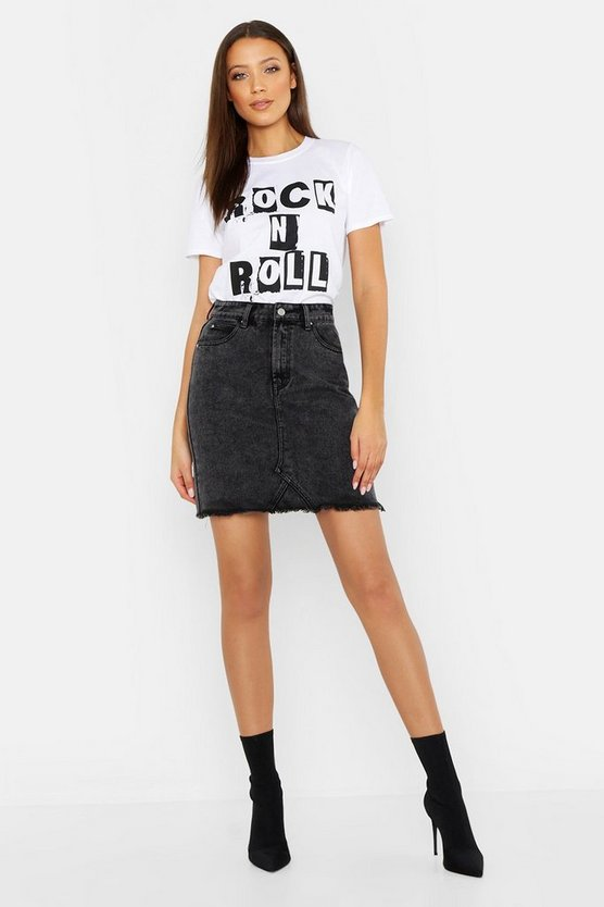 Womens Black Tall Acid Wash Denim Skirt