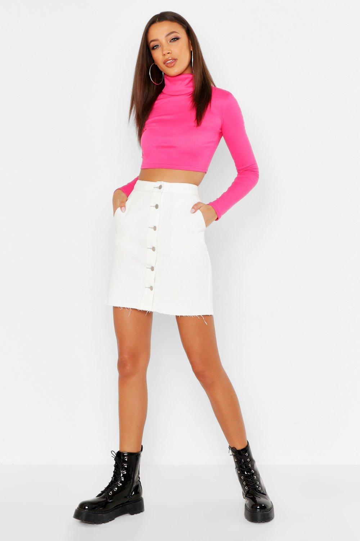 Tall Contrast Stitch Button Through Denim Skirt