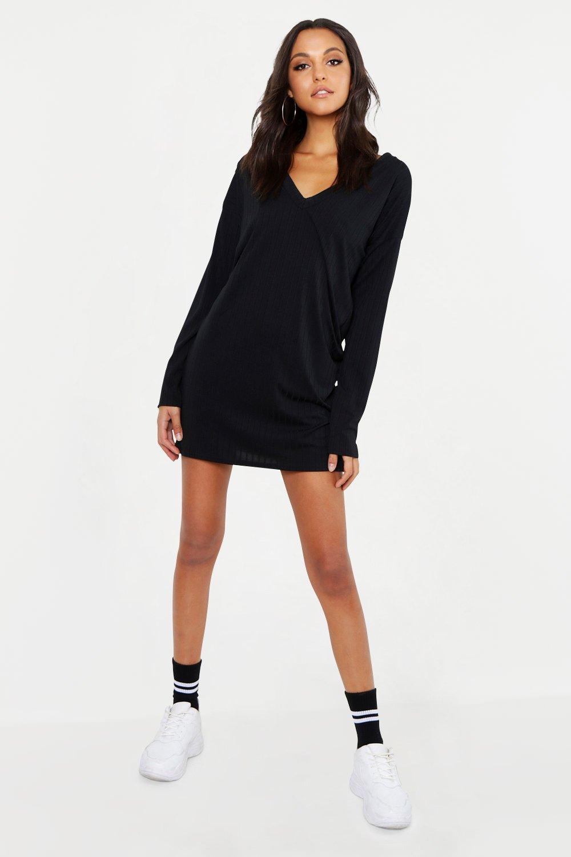 Tall V Neck Soft Rib Jumper Dress