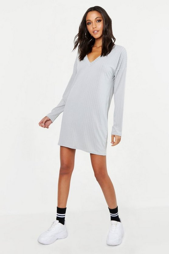 Womens Grey Tall V Neck Soft Rib Jumper Dress