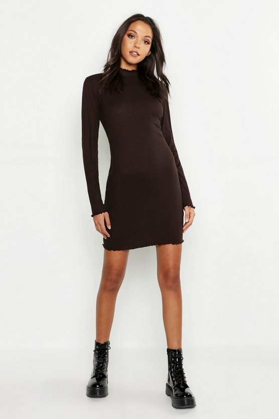 Tall Rib High Neck Lettuce Hem Bodycon Dress