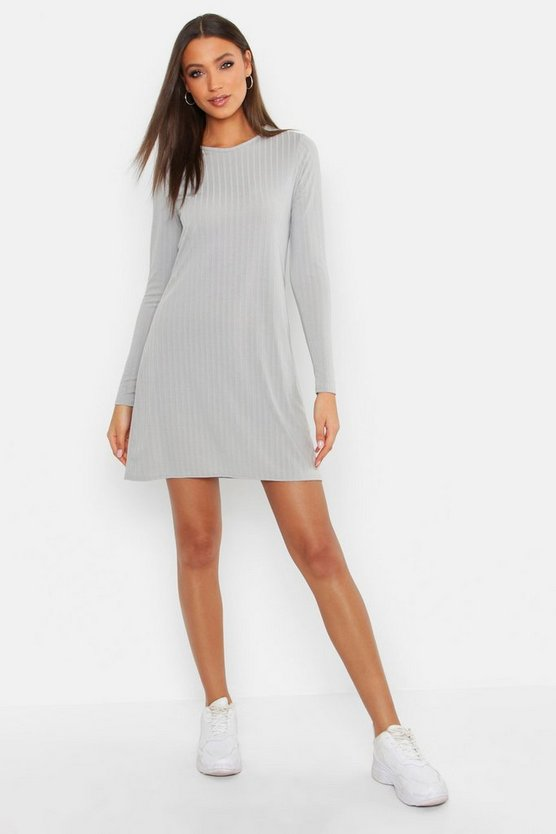Womens Grey Tall Crew Neck Soft Rib Jumper Dress