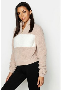 Womens Mocha Tall Teddy Faux Fur Colour Block Sweat