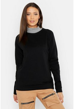 Womens Black Tall Rib Roll Neck Oversized Sweat