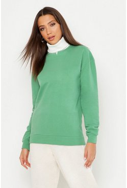 Womens Sage Tall Rib High Neck Notch Front Sweat