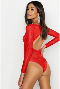 Womens Red Tall Backless Lace Bodysuit