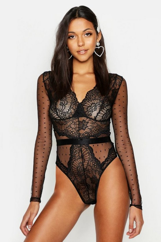 Womens Black Tall Plunge Lace Long Sleeve Bodysuit