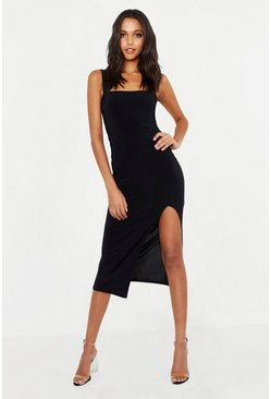 Womens Black Tall Square Neck Bodycon Midi Dress