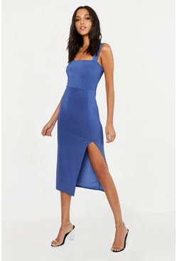 Denim Tall Square Neck Bodycon Midi Dress