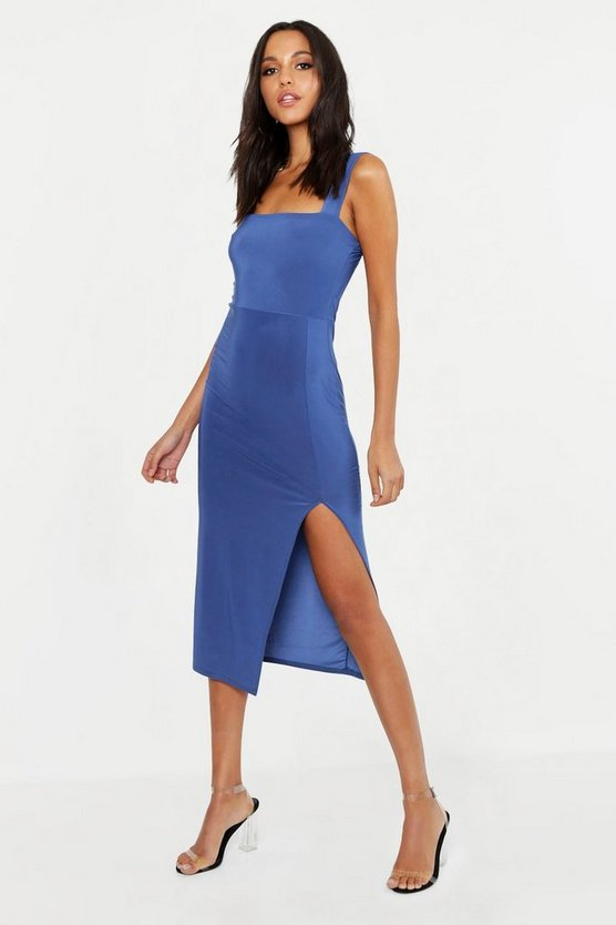 Womens Denim Tall Square Neck Bodycon Midi Dress