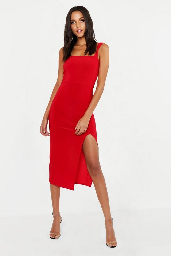 Tall Square Neck Bodycon Midi Dress