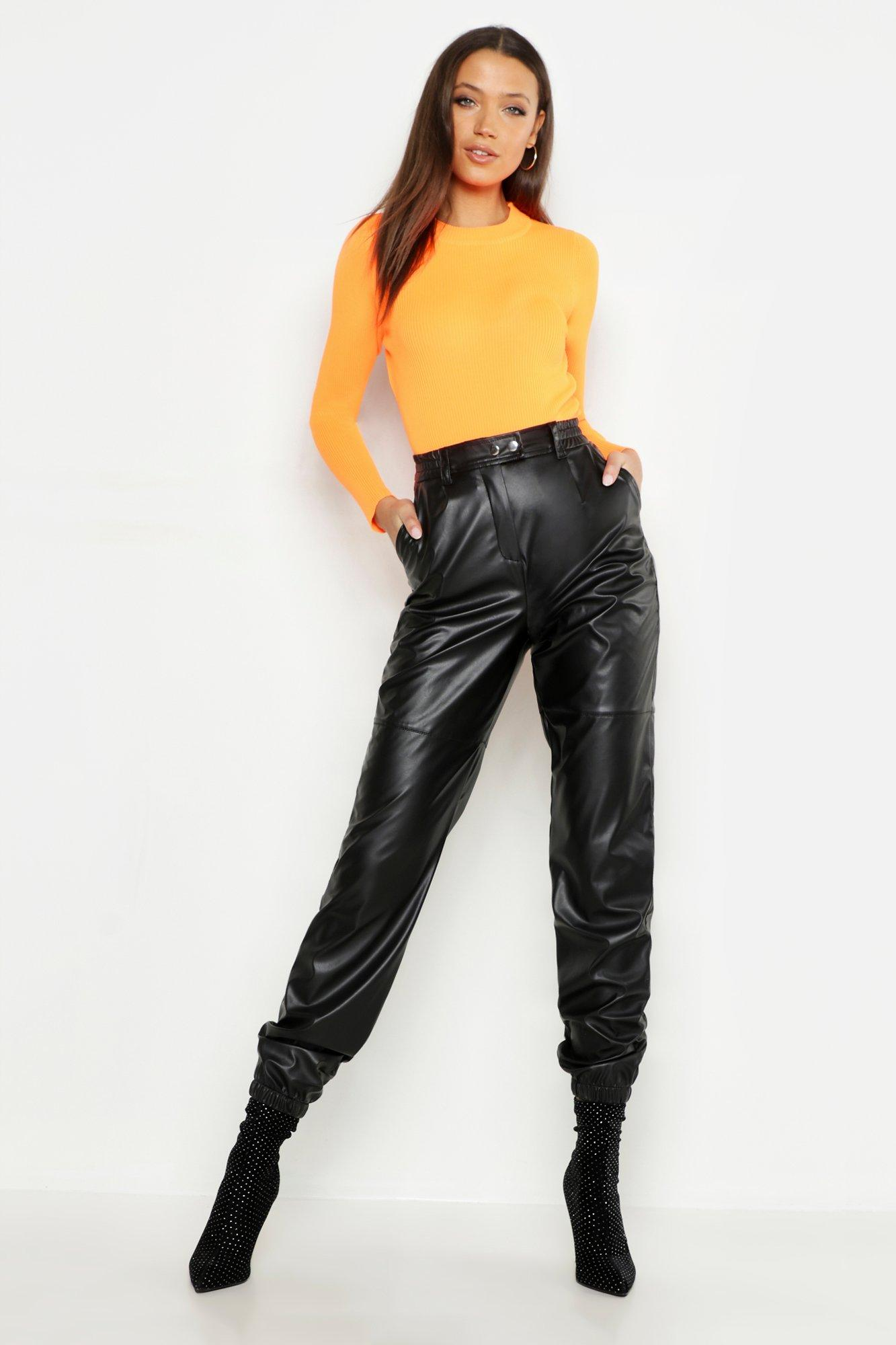 Tall Leather Look Joggers