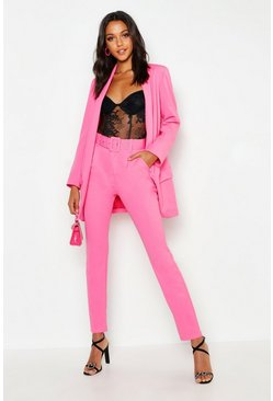 Womens Hot pink Tall Self Belt Tailored Trouser