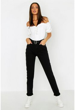 Womens Black Tall Buckle Detail Skinny Jeans