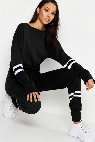 Tall Slash Neck Stripe Knitted Lounge Set
