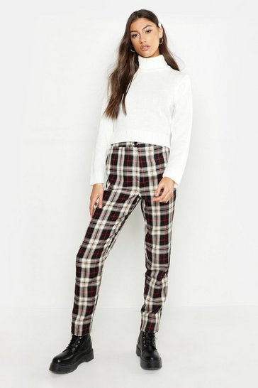 Womens Black Tall Tartan Tapered Trousers