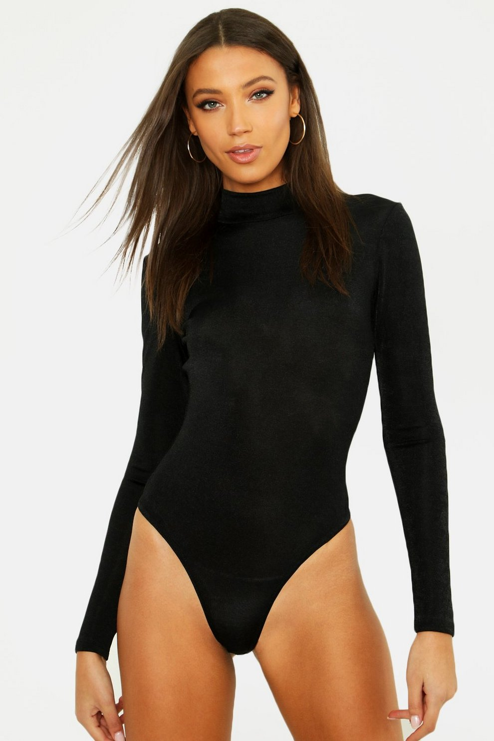dacc85fa63e Womens Black Tall Turtle Neck Slinky Bodysuit. Hover to zoom
