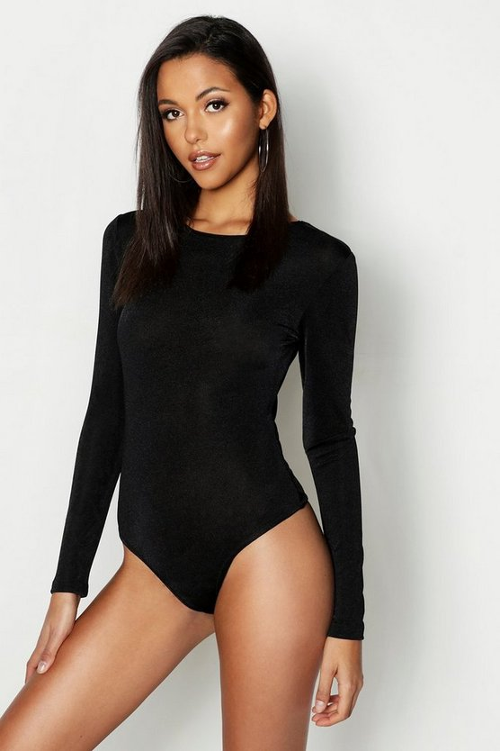 Womens Black Tall Slinky Bodysuit