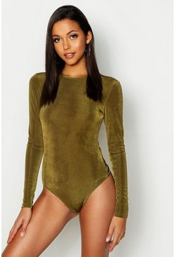 Womens Khaki Tall Slinky Bodysuit