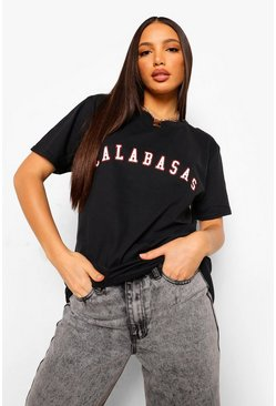 "Black Tall - ""Calabasas"" t-shirt med slogan"
