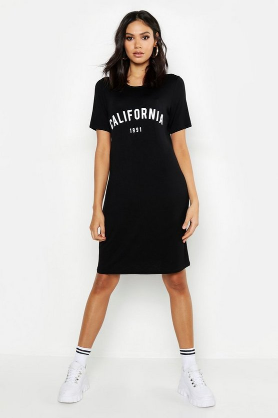 Tall T-Shirt-Kleid mit Slogan California 1991