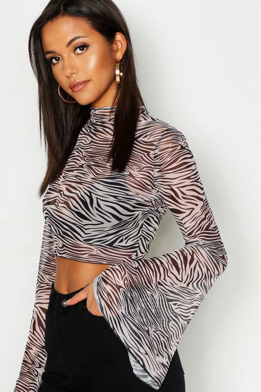 83d6f8c80016 Womens Black Tall Animal Print Mesh Crop Top