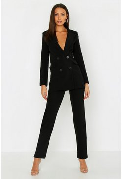 Womens Black Tall Woven Tailored Trousers