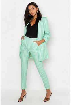 Womens Sage Tall Stripe Woven Tailored Trousers