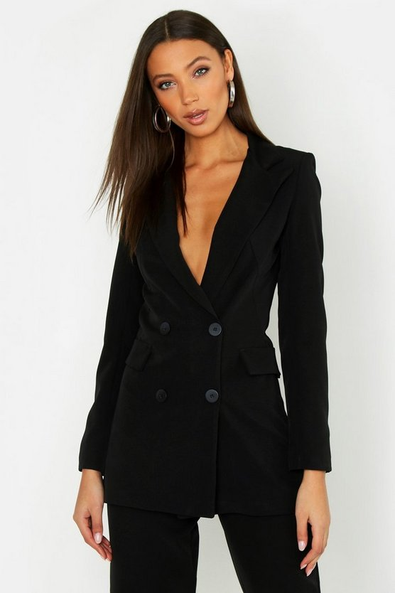 Womens Black Tall Button Front Woven Tailored Blazer