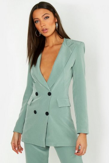 Womens Sage Tall Button Front Woven Tailored Blazer