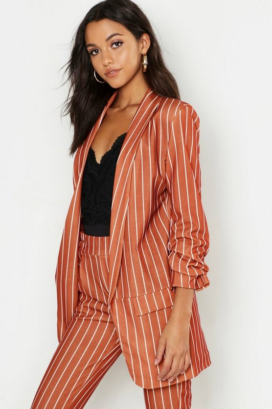 Tall Stripe Ruched Sleeve Woven Blazer