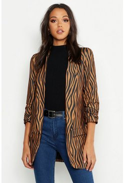 Womens Rust Tall Tonal Zebra Ruched Sleeve Woven Blazer