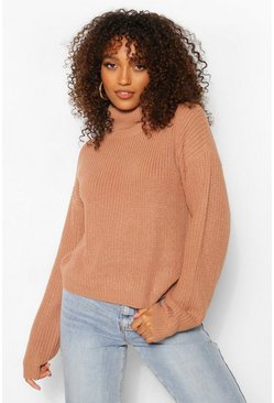 Womens Camel Tall Roll Neck Crop Sweater