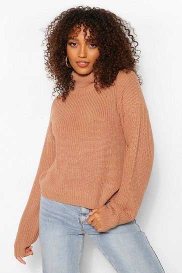 Camel Tall Roll Neck Crop Jumper
