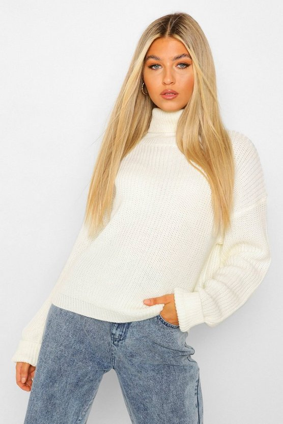 Womens Cream Tall Roll Neck Crop Jumper