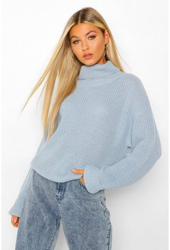 Womens Denim Tall Roll Neck Crop Sweater