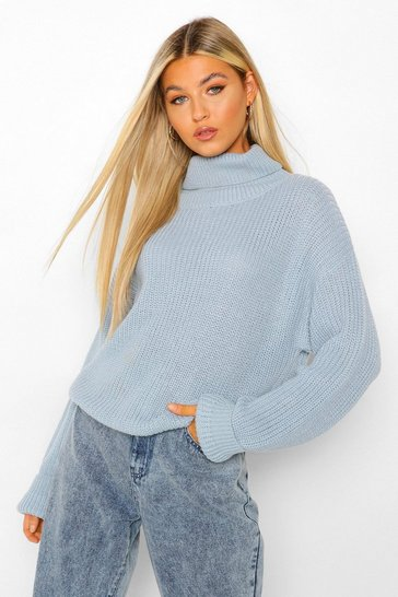 Womens Denim Tall Roll Neck Crop Jumper