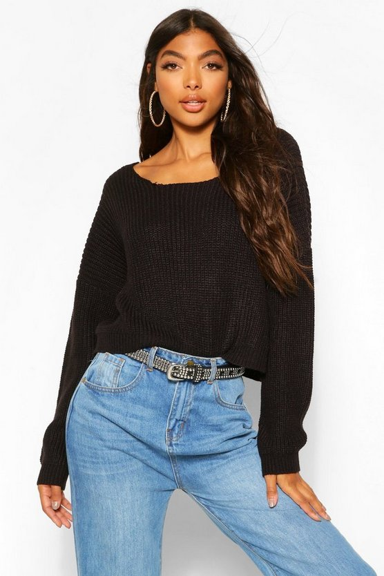 Black Tall V Back Crop Jumper